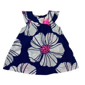 B💲4) Carter's Sleeveless Dress Navy White Newborn